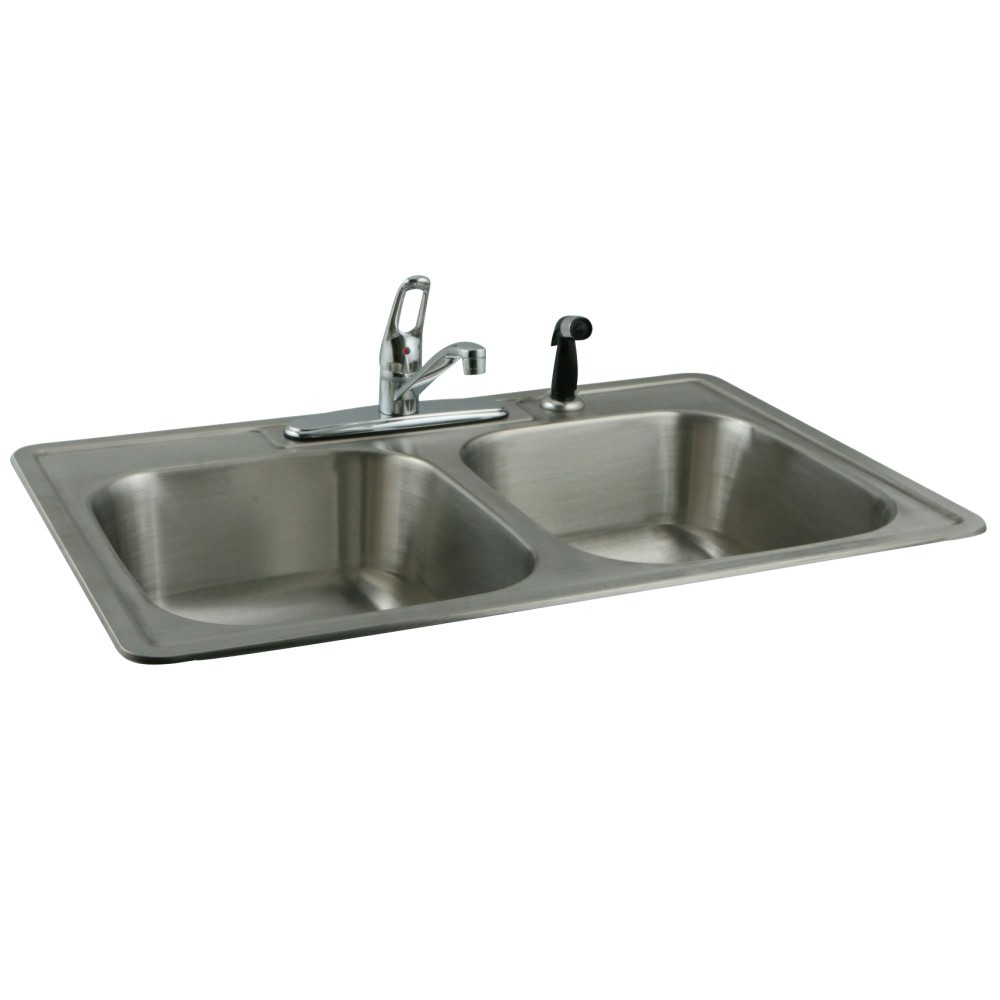Kingston Brass Kz33227k562 33 Inch Stainless Steel Kitchen Sink Combo With Faucet And Strainers In Brushed