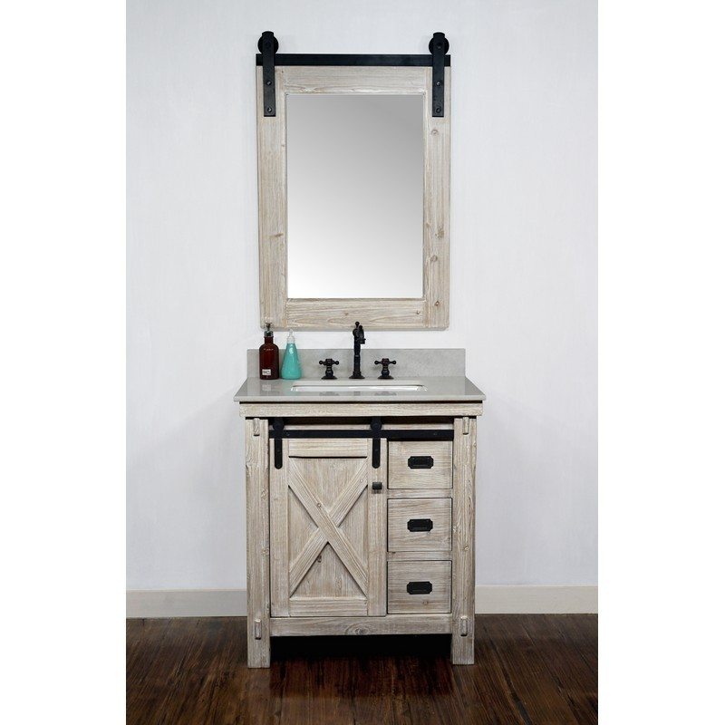 Infurniture Wk8530 Ap Top 30 Inch Rustic Solid Fir Barn Door Style Single Sink Vanity With Arctic Pearl Quartz Marble