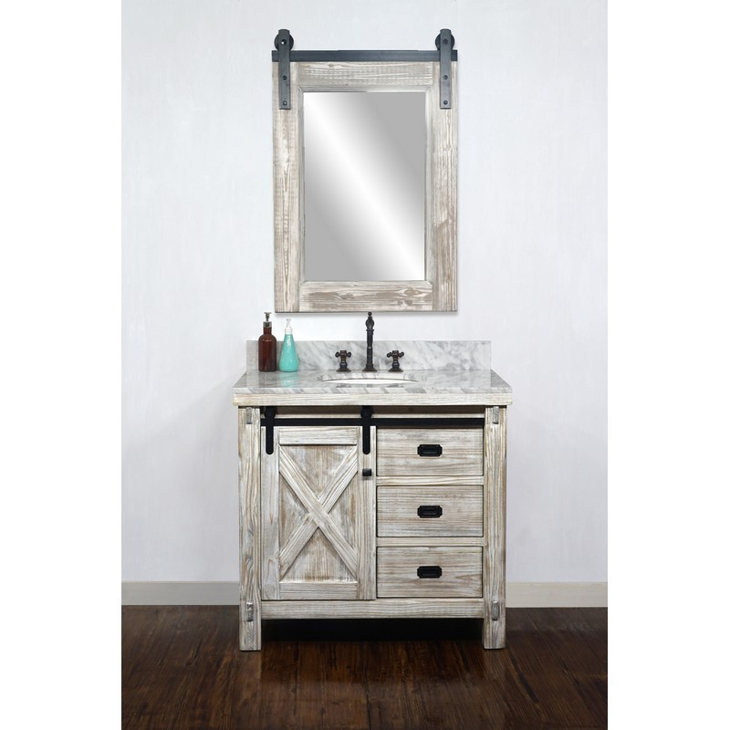 INFURNITURE WK8536-W+CW TOP 36 INCH RUSTIC SOLID FIR BARN DOOR STYLE SINGLE SINK VANITY IN WHITE WASH WITH CARRARA WHITE MARBLE TOP-NO FAUCET IN WHITE WASH