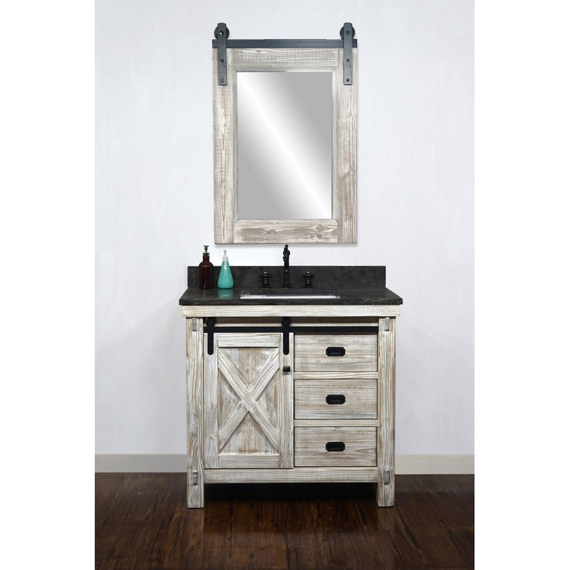 INFURNITURE WK8536-W+WK SQ TOP 36 INCH RUSTIC SOLID FIR BARN DOOR STYLE SINGLE SINK VANITY IN WHITE WASH WITH LIMESTONE TOP WITH RECTANGULAR SINK-NO FAUCET IN WHITE WASH