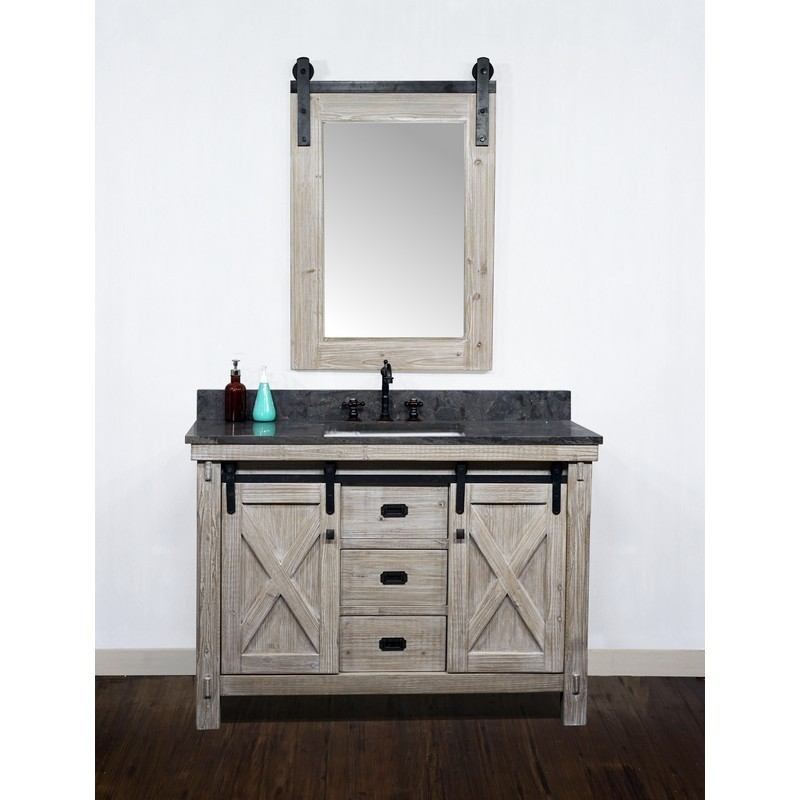 Infurniture Wk8548 Wk Sq Top 48 Inch Rustic Solid Fir Barn Door Style Single Sink Vanity With Limestone Top With