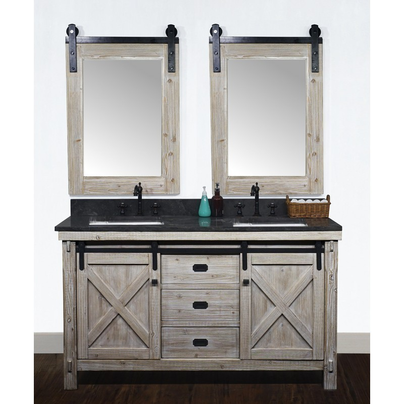 Infurniture Wk8560 Wk Top 60 Inch Rustic Solid Fir Barn Door Style Double Sinks Vanity With Limestone Top Oval