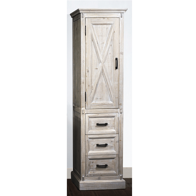 INFURNITURE WK8579SC-W 79 INCH HIGH RUSTIC SOLID FUR BARN DOOR STYLE SIDE CABINET IN WHITE WASH