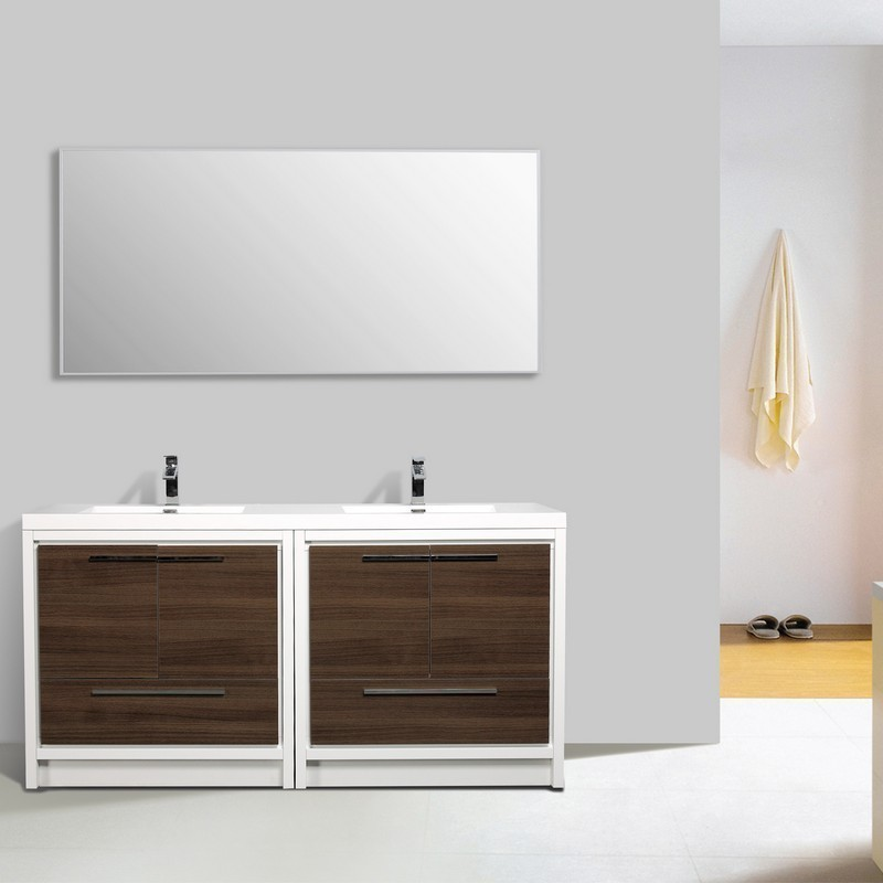Eviva EVVN765-72 Grace 72 Inch Bathroom Vanity with Double White Integrated Acrylic Countertop