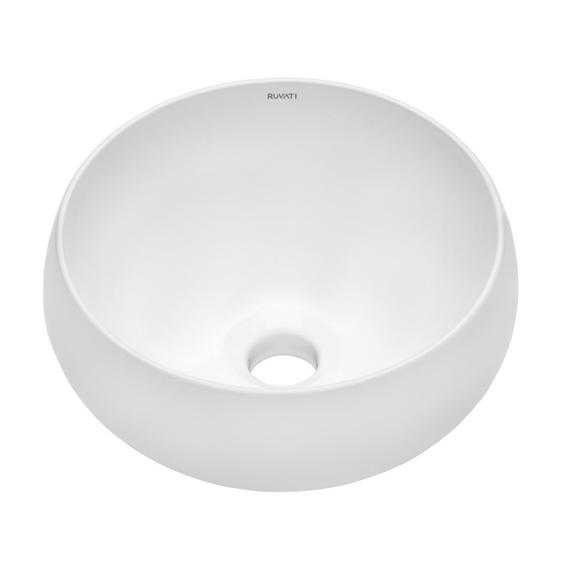 RUVATI RVB0312 12 INCH BATHROOM VESSEL SINK ROUND WHITE CIRCULAR ABOVE COUNTER PORCELAIN CERAMIC
