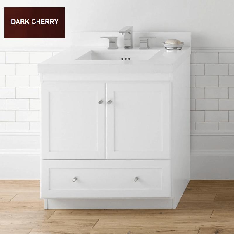 Ronbow Essentials 080830 3 H01 Shaker 30 Inch Bathroom Vanity Cabinet Base In Dark Cherry Wood
