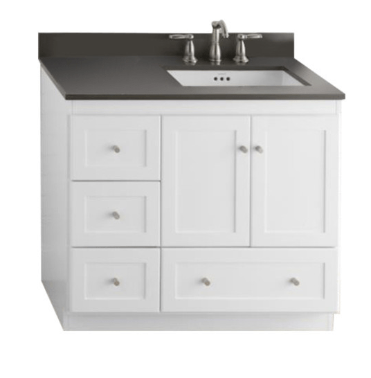 Ronbow Essentials 081936 3r W01 Shaker 36 Inch Bathroom Vanity Cabinet Base In White Wood Doors