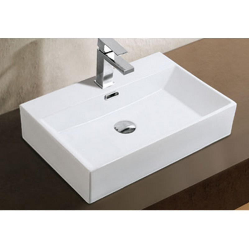 A&E BATH AND SHOWER CCB-381 23.5 INCH XANDER OVER THE COUNTER VESSEL CERAMIC BASIN SINK, GLOSSY WHITE