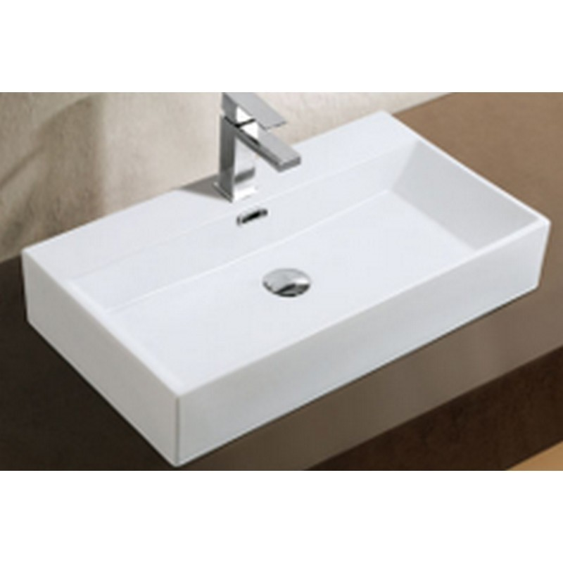 A&E BATH AND SHOWER CCB-382 23.5 INCH ADELMO OVER THE COUNTER VESSEL CERAMIC BASIN SINK, GLOSSY WHITE