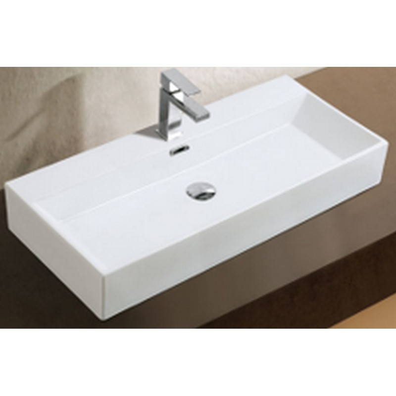 A&E BATH AND SHOWER CCB-383 39 INCH DASHA OVER THE COUNTER VESSEL CERAMIC BASIN SINK, GLOSSY WHITE