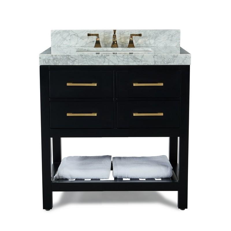 Ancerre Designs Vts Elizabeth 36 Bo Cw Gd Elizabeth 36 Inch Bath Vanity Set In Black Onyx With Italian Carrara White