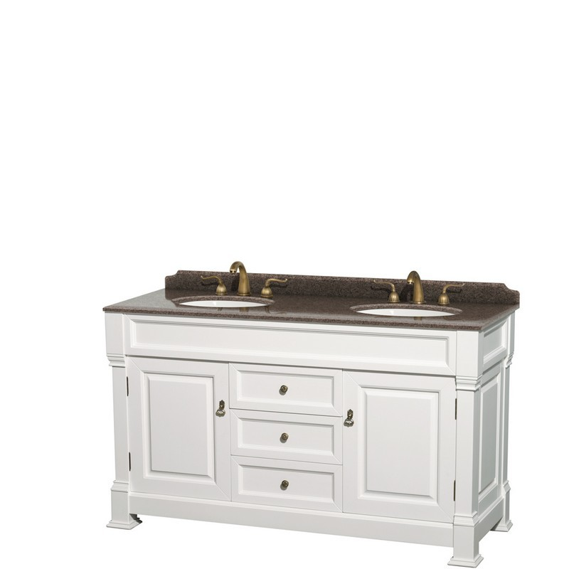 WYNDHAM COLLECTION WCVTRAD60DWHIBUNOMXX ANDOVER 60 INCH DOUBLE BATHROOM VANITY IN WHITE WITH IMPERIAL BROWN GRANITE COUNTERTOP AND UNDERMOUNT OVAL SINKS