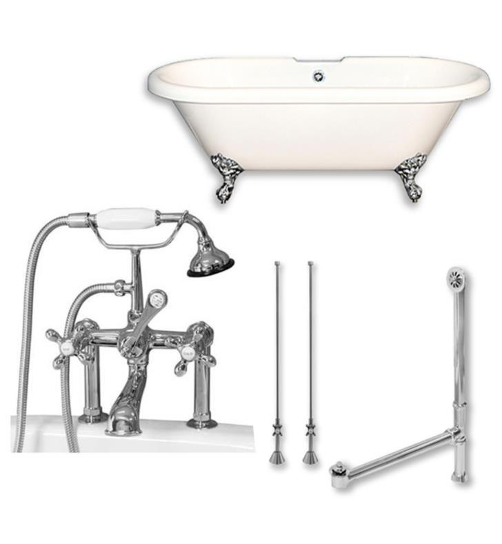CAMBRIDGE PLUMBING ADE60-463D-6-PKG-7DH 60 INCH DOUBLE ENDED CLAWFOOT BATHTUB WITH 7 INCH DESK MOUNT FAUCET DRILLINGS AND COMPLETE PLUMBING PACKAGE