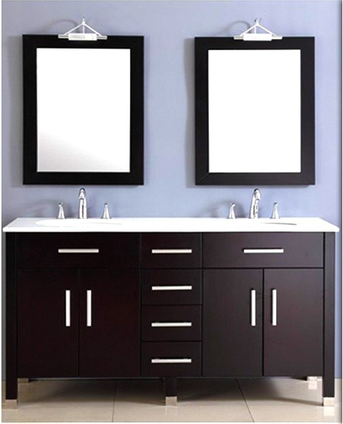 Cambridge plumbing 8162 espresso 72 inch wood porcelain double sink vanity set in polished for Polished chrome bathroom countertop accessories