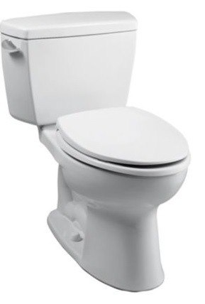 TOTO CST744ELR#01 ECO DRAKE TWO PIECE ELONGATED 1.28 GPF TOILET WITH E-MAX FLUSH SYSTEM, RIGHT-HAND TRIP LEVER AND COMFORT HEIGHT BOWL - LESS SEAT