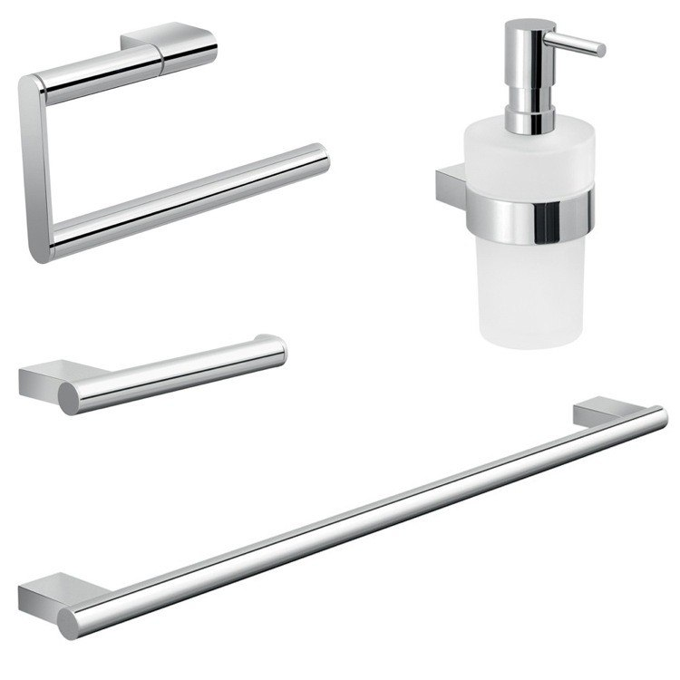 GEDY CAR104 CANARIE CHROME BRASS AND FROSTED GLASS BATHROOM ACCESSORY SET