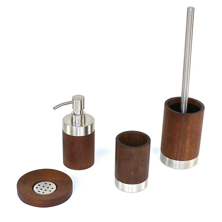 GEDY ER100 ERICA ERICA WALNUT WOOD BATHROOM ACCESSORY SET
