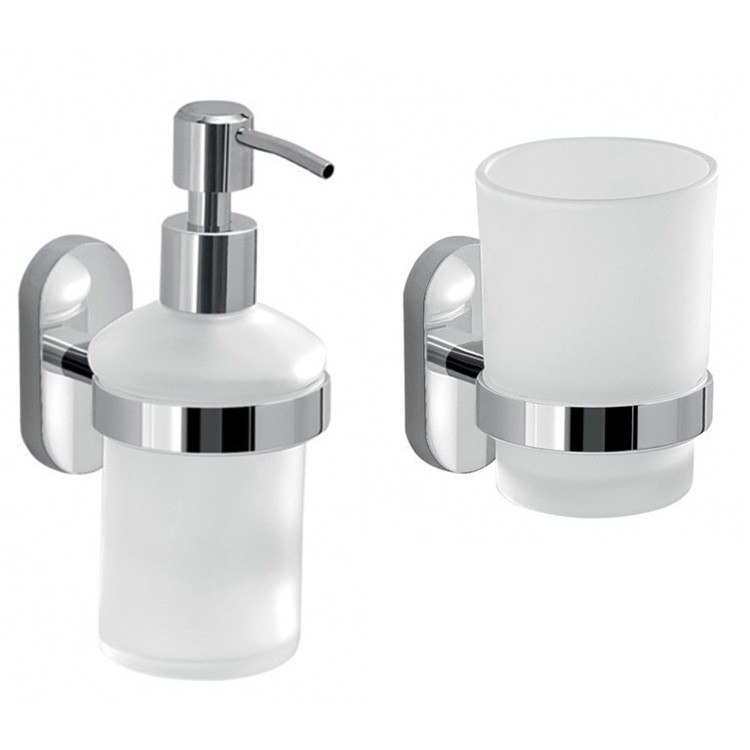 GEDY FEBO1500-13 FEBO SOAP DISPENSER AND TOOTHBRUSH TUMBLER SET