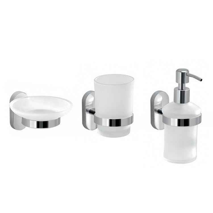 GEDY FEBO200-13 FEBO WALL MOUNTED THREE PIECE ACCESSORY SET MADE OF FROSTED GLASS