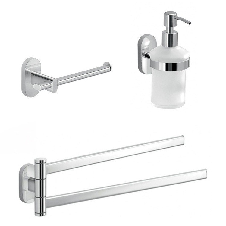 GEDY FEBO323-13 FEBO ESSENTIAL 3 PIECE BATHROOM ACCESSORY SET