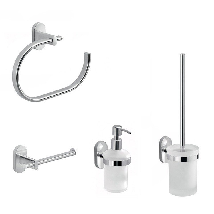 GEDY FEBO481-13 FEBO 4 PIECE BATHROOM ACCESSORY SET