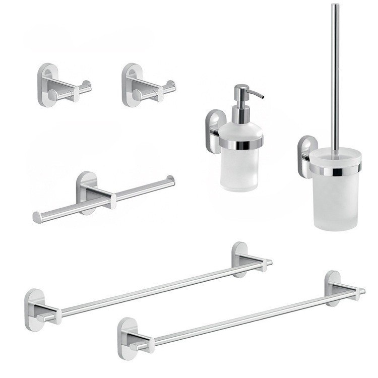GEDY FEBO781-13 FEBO HIS AND HERS 7 PIECE CHROME BATHROOM HARDWARE SET