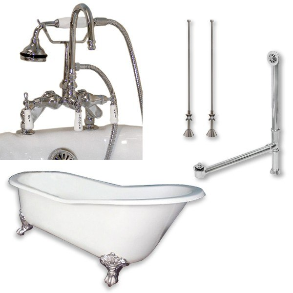 Cambridge Plumbing ST61-684D-PKG-7DH Cast Iron Slipper Clawfoot Tub 61 X 30 Inch with 7 Inch Deck Mount Faucet Drillings and Complete Plumbing Package