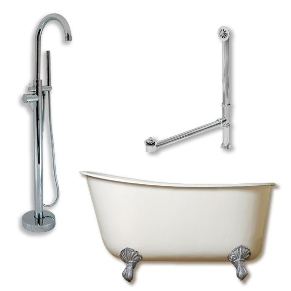 54 inch freestanding tub. Cambridge Plumbing SWED54 150 PKG NH Cast Iron Swedish Slipper Tub 54 X