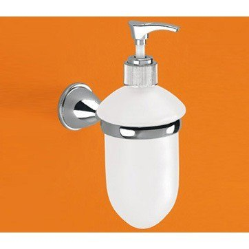 GEDY GE80-13 GENZIANA WALL MOUNTED FROSTED GLASS SOAP DISPENSER WITH CHROME MOUNTING