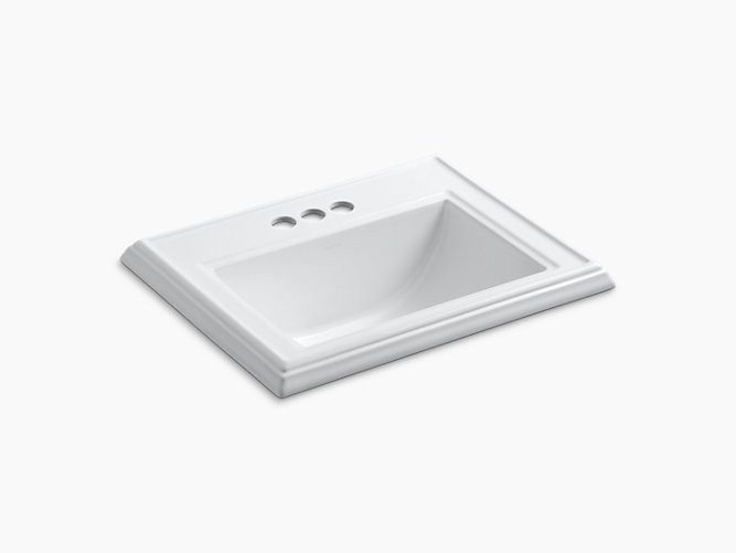 KOHLER K-2241-4 MEMOIRS 17 INCH DROP IN BATHROOM SINK WITH 3 HOLES DRILLED AND OVERFLOW