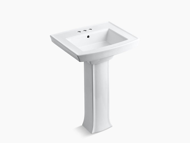 KOHLER K-2359-4 24 INCH CENTERSET VITREOUS CHINA PEDESTAL BATHROOM SINK WITH 3 PRE DRILLED FAUCET HOLES FROM THE ARCHER COLLECTION