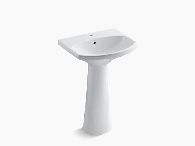 KOHLER K-2362-1 CIMARRON 22-3//4 INCH PEDESTAL LAVATORY SINK WITH ONE HOLE DRILLED AND OVERFLOW