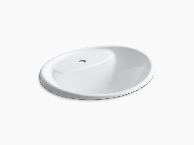 KOHLER K-2839-1 TIDES 20 INCH DROP IN ENAMELED CAST IRON BATHROOM SINK WITH 1 HOLE DRILLED AND OVERFLOW
