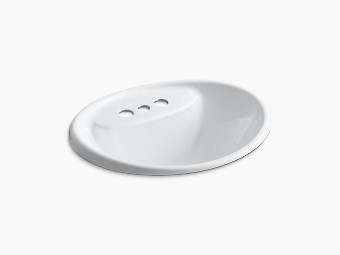 KOHLER K-2839-4 TIDES 20 INCH DROP IN ENAMELED CAST IRON BATHROOM SINK WITH 3 HOLES DRILLED AND OVERFLOW