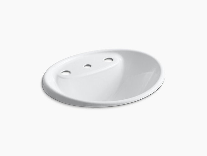 KOHLER K-2839-8 TIDES 20 INCH DROP IN ENAMELED CAST IRON BATHROOM SINK WITH 3 HOLES DRILLED AND OVERFLOW