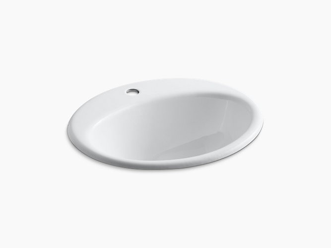 KOHLER K-2905-1 FARMINGTON 19-1/4 INCH CIRCULAR CAST IRON DROP IN BATHROOM SINK WITH OVERFLOW AND SINGLE FAUCET HOLE