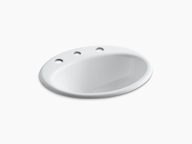 KOHLER K-2905-8 FARMINGTON 19-1/4 INCH CIRCULAR CAST IRON DROP IN BATHROOM SINK WITH OVERFLOW AND 3 FAUCET HOLES AT 8 INCH CENTERS