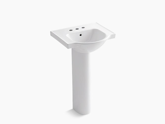 KOHLER K-5265-4 VEER 21 INCH VITREOUS CHINA PEDESTAL BATHROOM SINK WITH 3 FAUCET HOLES AND OVERFLOW