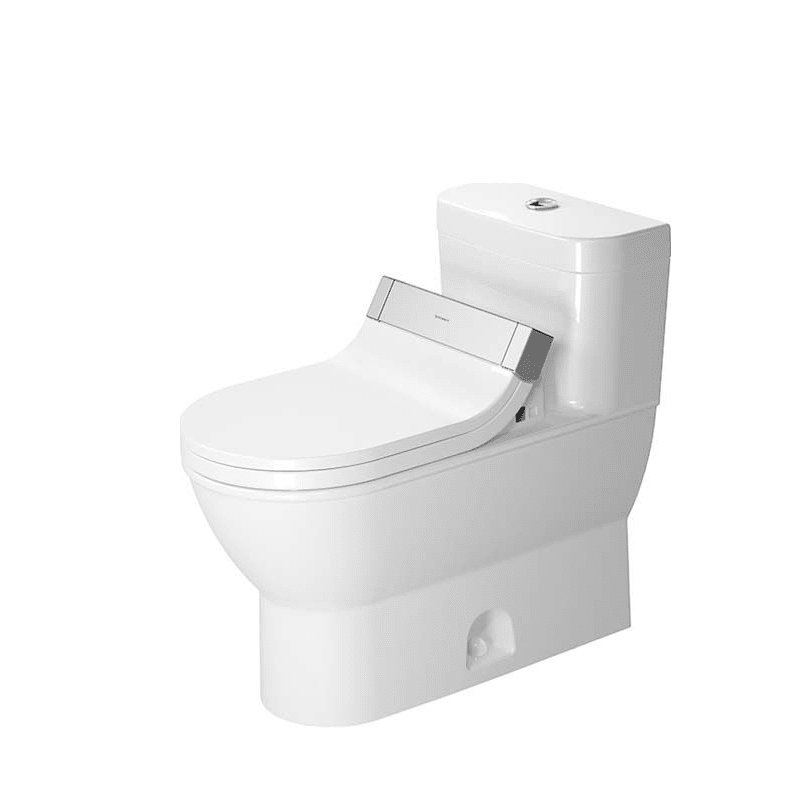 DURAVIT D2101900 DARLING NEW 1.28 GPF ONE PIECE ELONGATED TOILET WITH TOP FLUSH BUTTON - WASHLET SEAT INCLUDED
