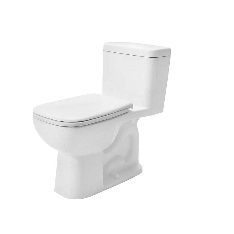DURAVIT D4005800 D-CODE 1.28 GPF ONE PIECE ELONGATED CHAIR HEIGHT TOILET WITH LEFT HAND LEVER - SEAT INCLUDED