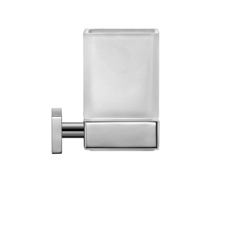 DURAVIT 0099511000 KARREE 2-3/4 W X 4-3/8 H INCH GLASS HOLDER WITH FROSTED GLASS IN CHROME