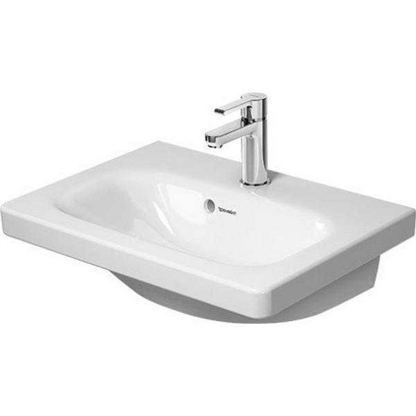 DURAVIT 2337550000 DURASTYLE 21-5/8 INCH 1-HOLE WALL-MOUNTED WASHBASIN COMPACT IN WHITE