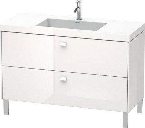 DURAVIT BR4703 BRIOSO 47 1/4 INCH FLOOR-STANDING VANITY WITH C-BONDED FURNITURE WASHBASIN AND CHROME HANDLE