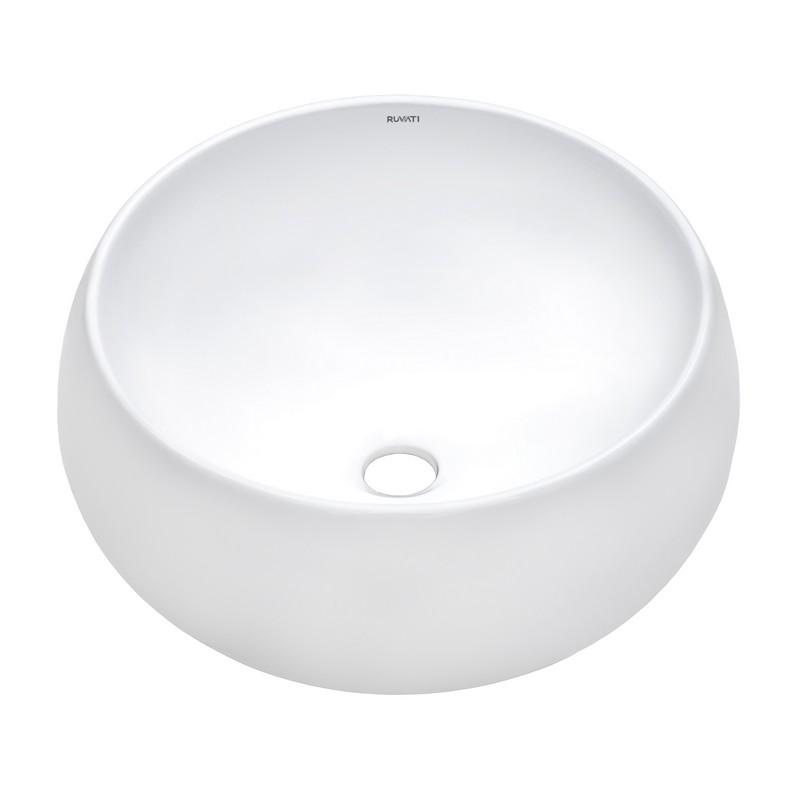 RUVATI RVB0316 VISTA 15 X 15 INCH ROUND WHITE ABOVE COUNTER CIRCULAR PORCELAIN CERAMIC BATHROOM VESSEL SINK