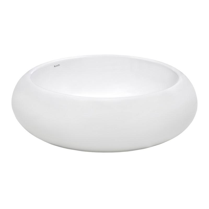 RUVATI RVB0318 VISTA 18 X 18 INCH ROUND WHITE ABOVE VANITY COUNTER CIRCULAR PORCELAIN CERAMIC BATHROOM VESSEL SINK