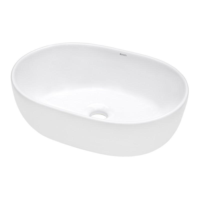 RUVATI RVB0424 VISTA 23 X 16 INCH WHITE OVAL ABOVE VANITY COUNTERTOP PORCELAIN CERAMIC BATHROOM VESSEL SINK