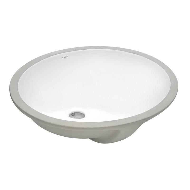 RUVATI RVB0616 KRONA 16 X 13 INCH UNDERMOUNT WHITE OVAL PORCELAIN CERAMIC WITH OVERFLOW BATHROOM SINK