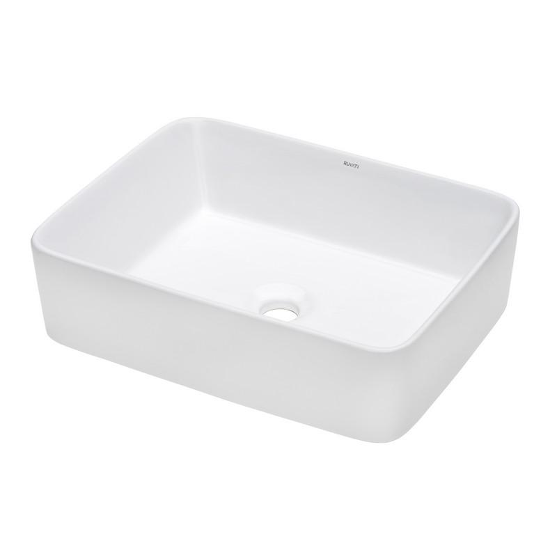 RUVATI RVB1915 VISTA 19 X 14 INCH WHITE RECTANGULAR ABOVE VANITY COUNTER PORCELAIN CERAMIC BATHROOM VESSEL SINK