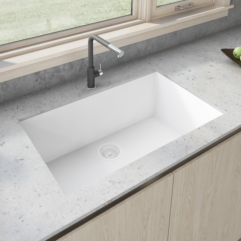 Ruvati Rvg2080wh 33 X 19 Inch Granite Composite Undermount Single Bowl Kitchen Sink In Arctic White