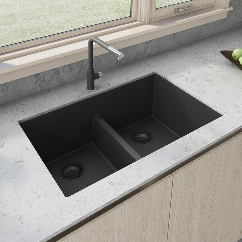 RUVATI RVG2385BK 33 X 19 INCH GRANITE COMPOSITE UNDERMOUNT DOUBLE BOWL LOW DIVIDE KITCHEN SINK IN MIDNIGHT BLACK